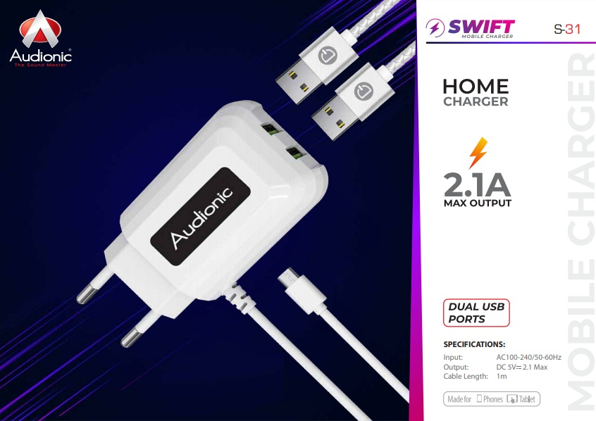 Audionic Swift S-31 Mobile Charger